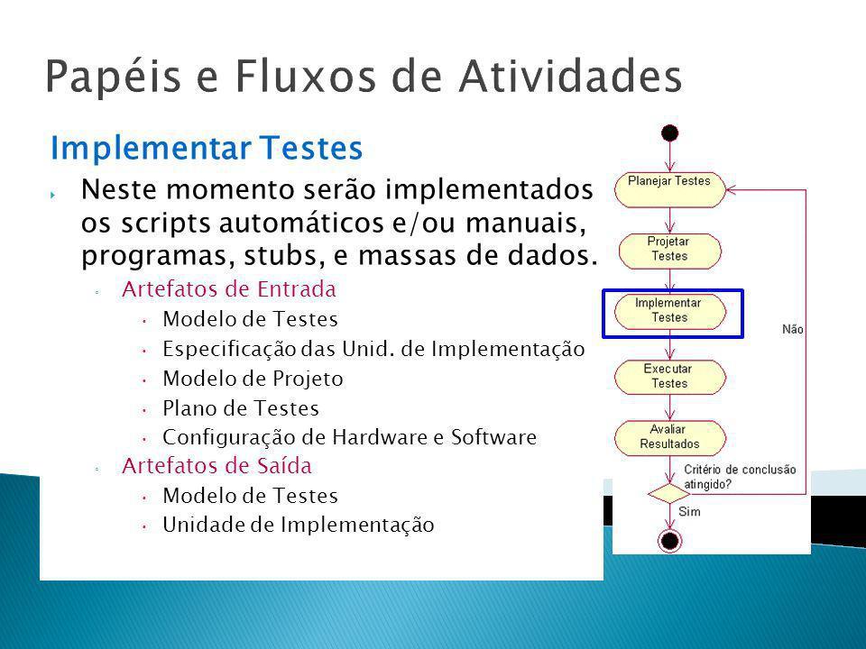 Papéis e Fluxos de Atividades Implementar Testes Neste momento serão implementados os scripts automáticos e/ou manuais, programas, stubs, e massas de