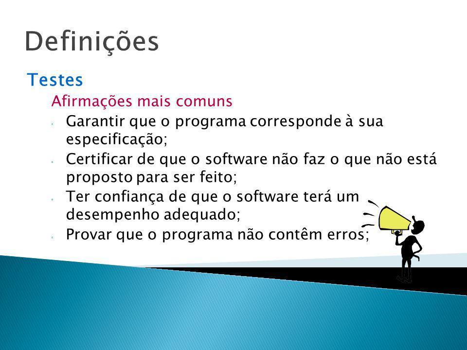 Definições Testes Afirmações mais comuns Garantir que o programa corresponde à sua especificação; Certificar de que o software não faz o que não está