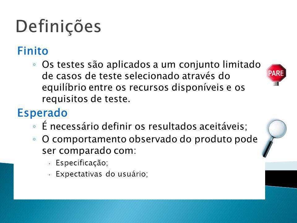 Definições Finito Os testes são aplicados a um conjunto limitado de casos de teste selecionado através do equilíbrio entre os recursos disponíveis e o