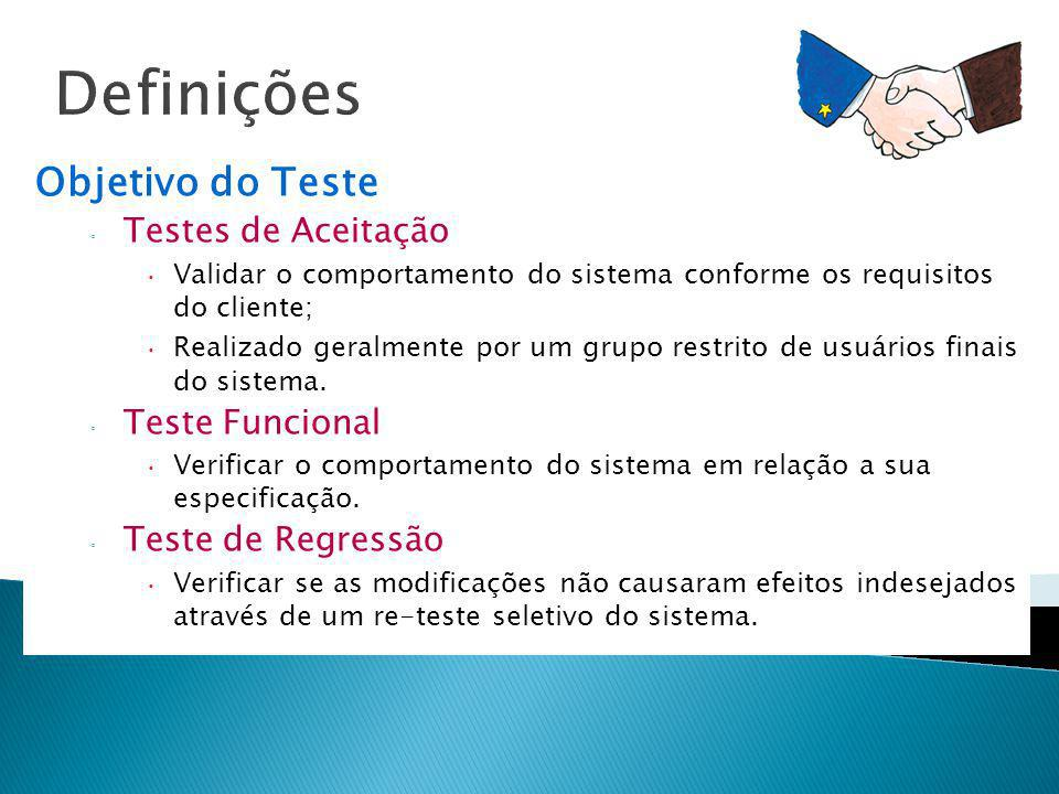 Definições Objetivo do Teste Testes de Aceitação Validar o comportamento do sistema conforme os requisitos do cliente; Realizado geralmente por um gru