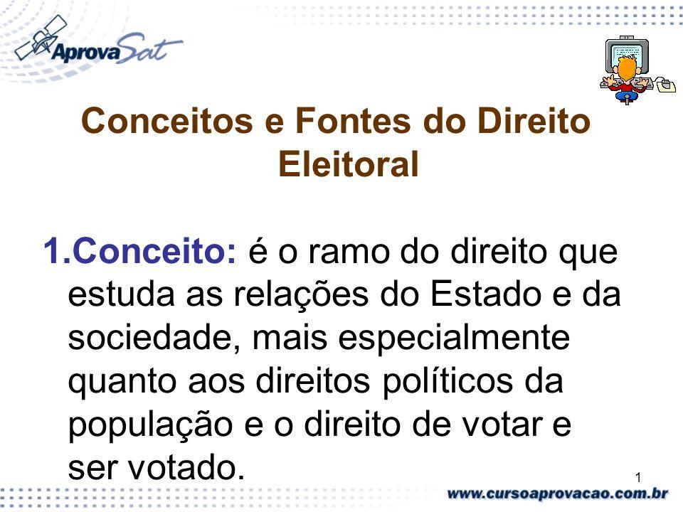 1 Conceitos e Fontes do Direito Eleitoral 1.Conceito: é o ramo do direito que estuda as relações do Estado e da sociedade, mais especialmente quanto a