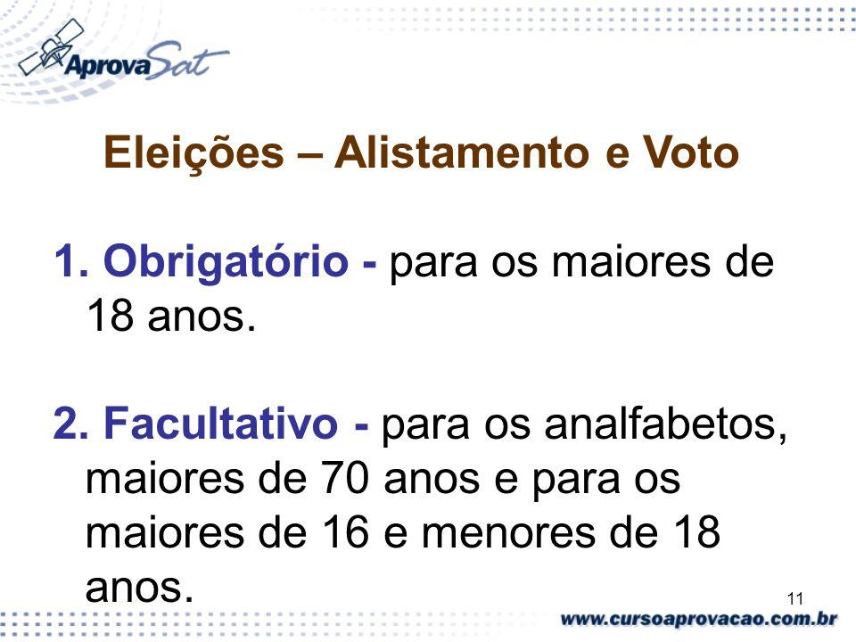 11 Eleições – Alistamento e Voto 1. Obrigatório - para os maiores de 18 anos. 2. Facultativo - para os analfabetos, maiores de 70 anos e para os maior