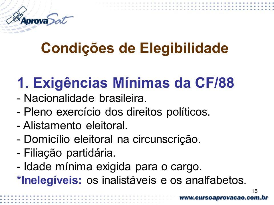 15 Condições de Elegibilidade 1. Exigências Mínimas da CF/88 - Nacionalidade brasileira. - Pleno exercício dos direitos políticos. - Alistamento eleit