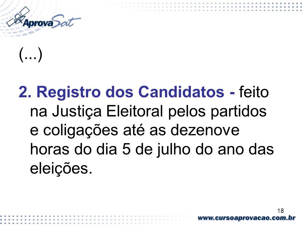 18 (...) 2. Registro dos Candidatos - feito na Justiça Eleitoral pelos partidos e coligações até as dezenove horas do dia 5 de julho do ano das eleiçõ
