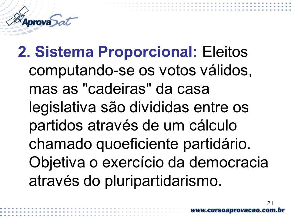 21 2. Sistema Proporcional: Eleitos computando-se os votos válidos, mas as