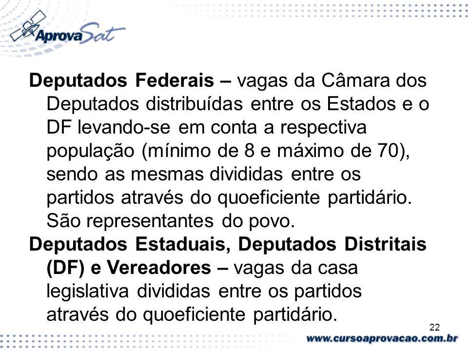 22 Deputados Federais – vagas da Câmara dos Deputados distribuídas entre os Estados e o DF levando-se em conta a respectiva população (mínimo de 8 e m