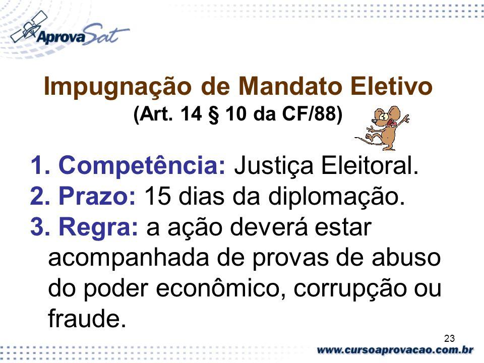 23 Impugnação de Mandato Eletivo (Art. 14 § 10 da CF/88) 1. Competência: Justiça Eleitoral. 2. Prazo: 15 dias da diplomação. 3. Regra: a ação deverá e