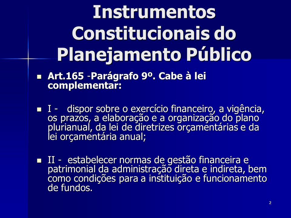2 Instrumentos Constitucionais do Planejamento Público Art.165 -Parágrafo 9º. Cabe à lei complementar: Art.165 -Parágrafo 9º. Cabe à lei complementar: