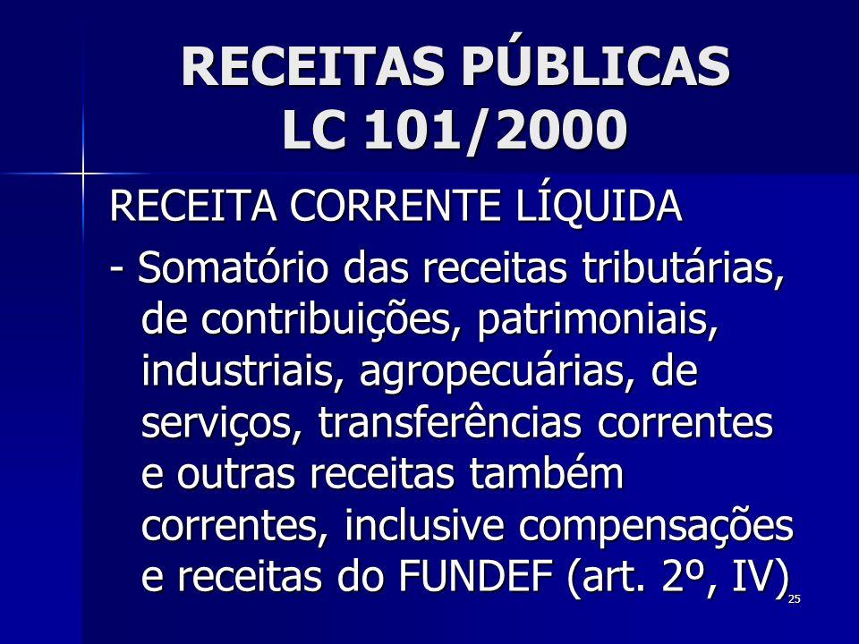25 RECEITAS PÚBLICAS LC 101/2000 RECEITA CORRENTE LÍQUIDA - Somatório das receitas tributárias, de contribuições, patrimoniais, industriais, agropecuá