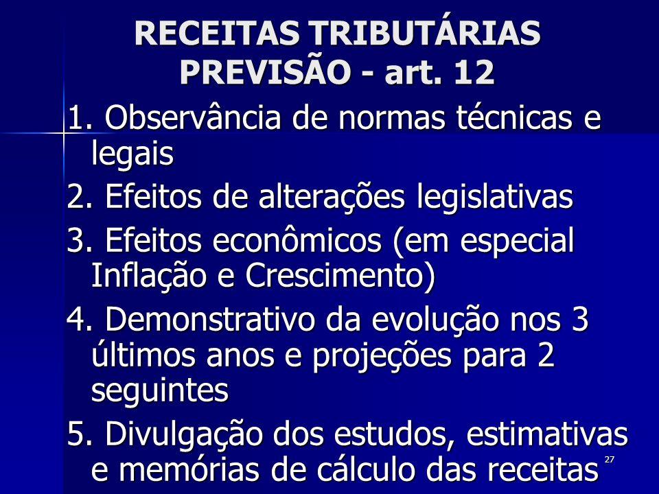 27 RECEITAS TRIBUTÁRIAS PREVISÃO - art. 12 1. Observância de normas técnicas e legais 2. Efeitos de alterações legislativas 3. Efeitos econômicos (em