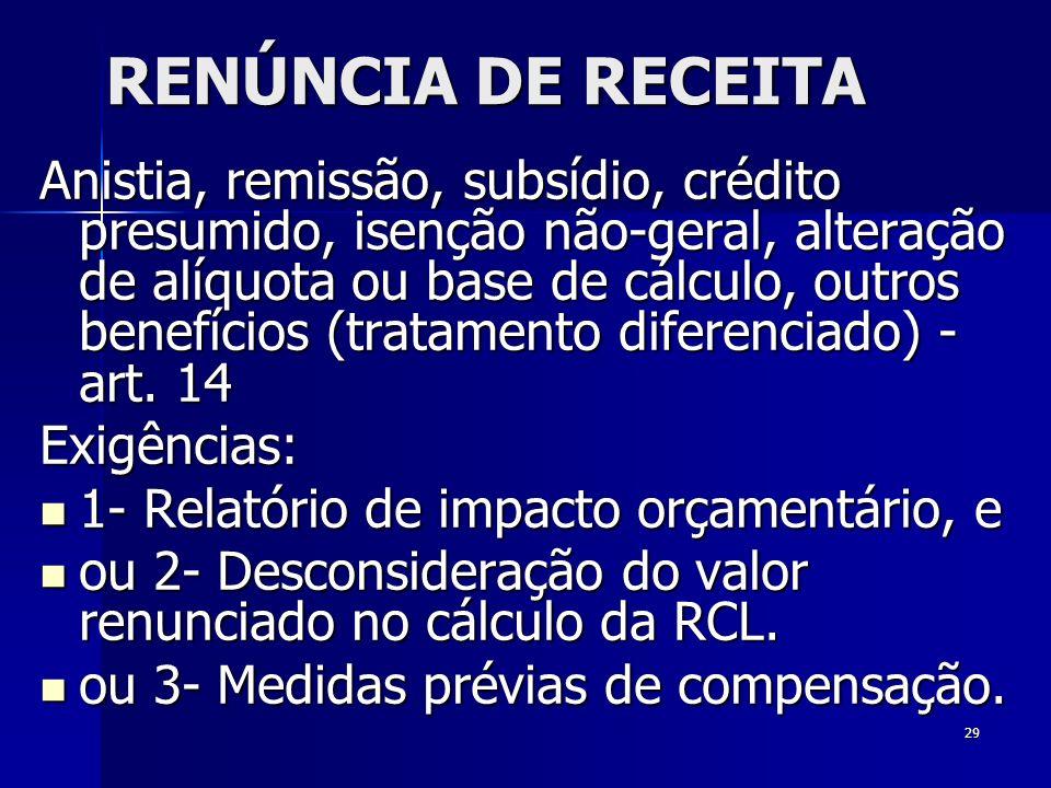 29 RENÚNCIA DE RECEITA Anistia, remissão, subsídio, crédito presumido, isenção não-geral, alteração de alíquota ou base de cálculo, outros benefícios