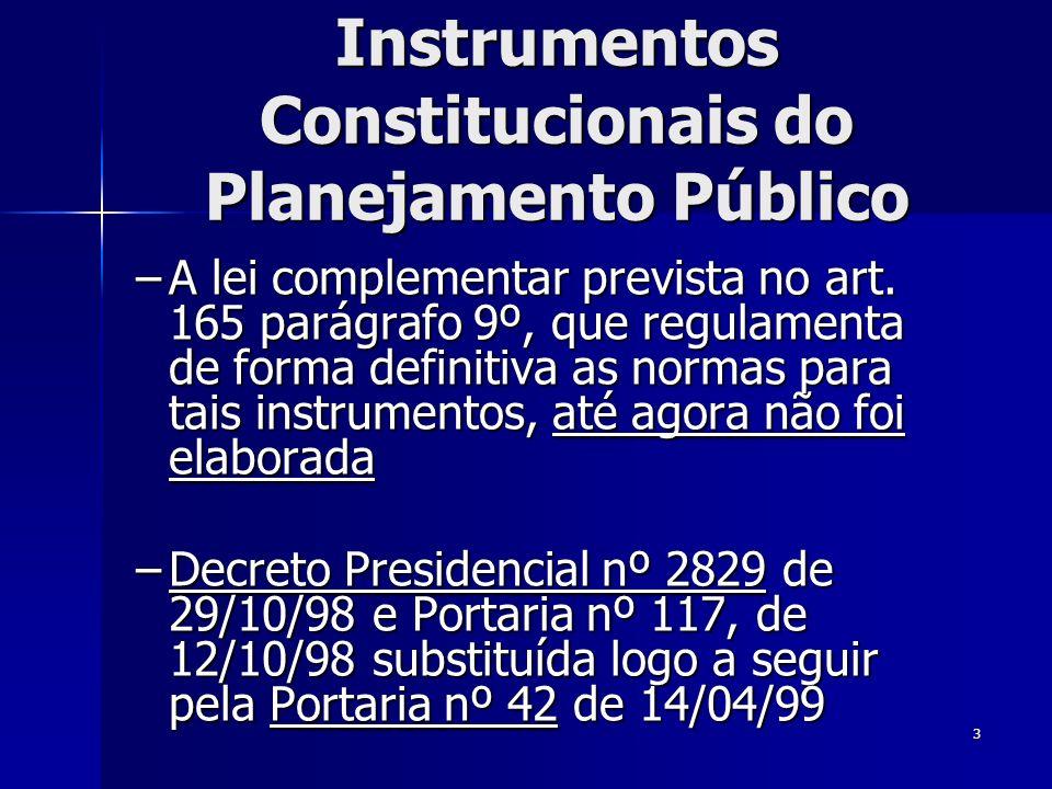 3 Instrumentos Constitucionais do Planejamento Público –A lei complementar prevista no art. 165 parágrafo 9º, que regulamenta de forma definitiva as n