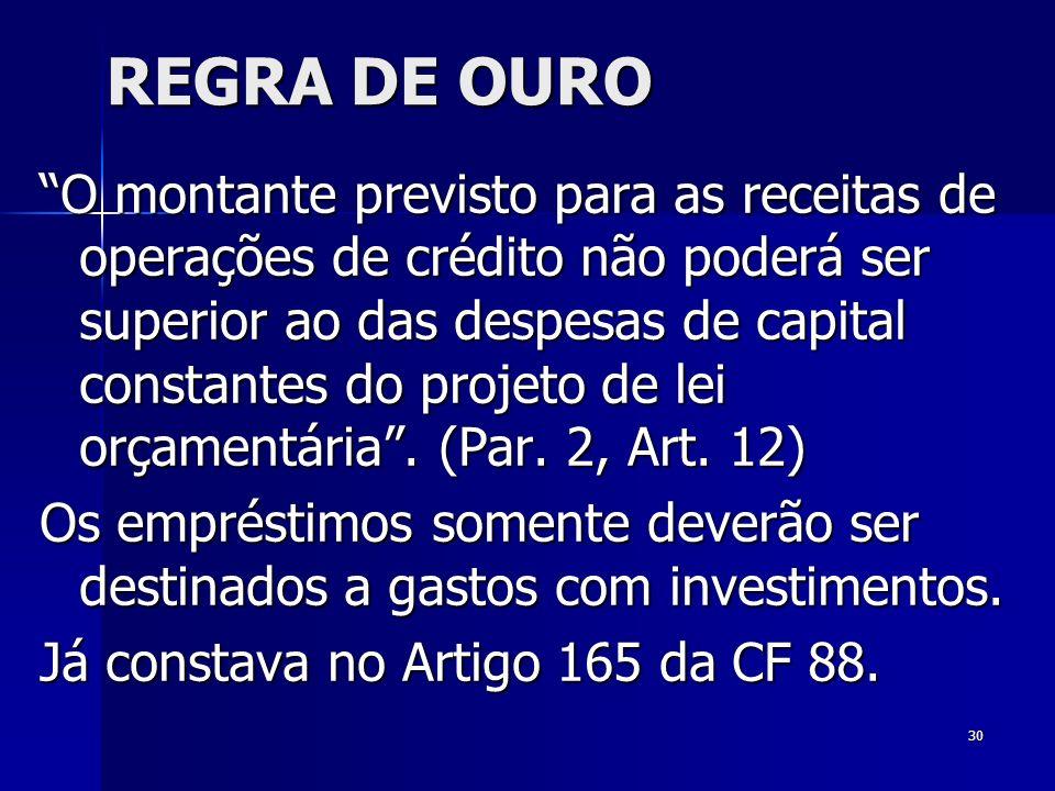 30 REGRA DE OURO O montante previsto para as receitas de operações de crédito não poderá ser superior ao das despesas de capital constantes do projeto