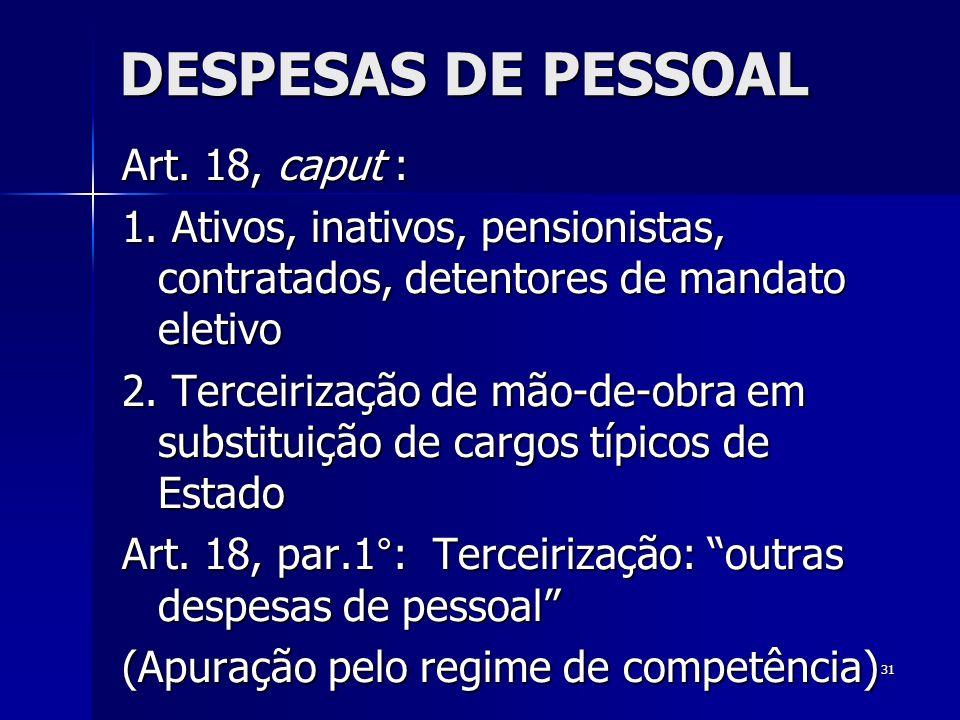 31 DESPESAS DE PESSOAL Art. 18, caput : 1. Ativos, inativos, pensionistas, contratados, detentores de mandato eletivo 2. Terceirização de mão-de-obra
