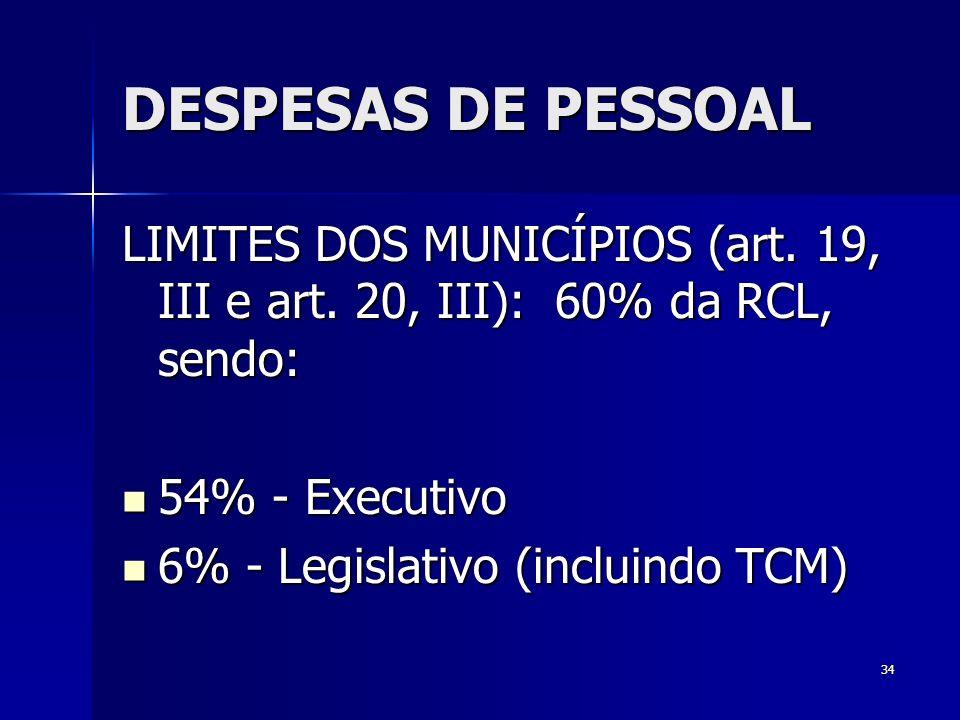 34 DESPESAS DE PESSOAL LIMITES DOS MUNICÍPIOS (art. 19, III e art. 20, III): 60% da RCL, sendo: 54% - Executivo 54% - Executivo 6% - Legislativo (incl