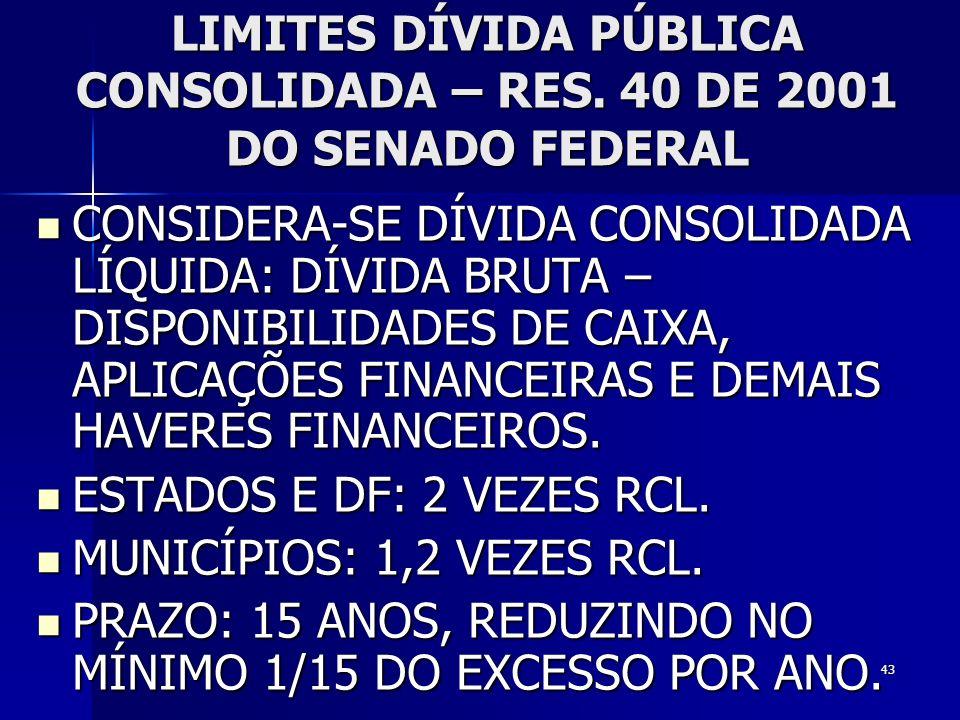 43 LIMITES DÍVIDA PÚBLICA CONSOLIDADA – RES. 40 DE 2001 DO SENADO FEDERAL CONSIDERA-SE DÍVIDA CONSOLIDADA LÍQUIDA: DÍVIDA BRUTA – DISPONIBILIDADES DE