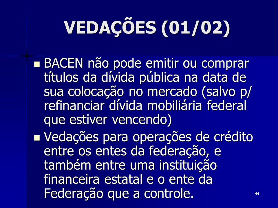 44 VEDAÇÕES (01/02) BACEN não pode emitir ou comprar títulos da dívida pública na data de sua colocação no mercado (salvo p/ refinanciar dívida mobili
