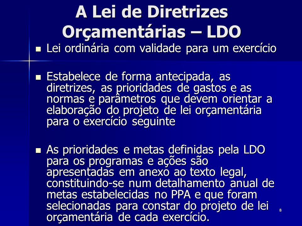 8 A Lei de Diretrizes Orçamentárias – LDO Lei ordinária com validade para um exercício Lei ordinária com validade para um exercício Estabelece de form