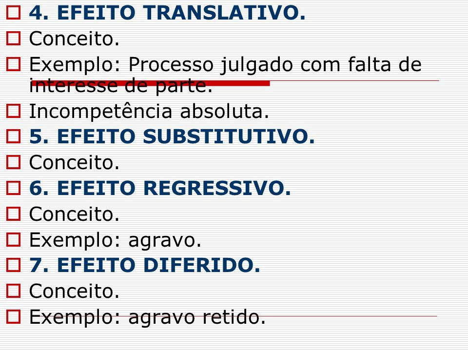 4. EFEITO TRANSLATIVO. Conceito. Exemplo: Processo julgado com falta de interesse de parte. Incompetência absoluta. 5. EFEITO SUBSTITUTIVO. Conceito.