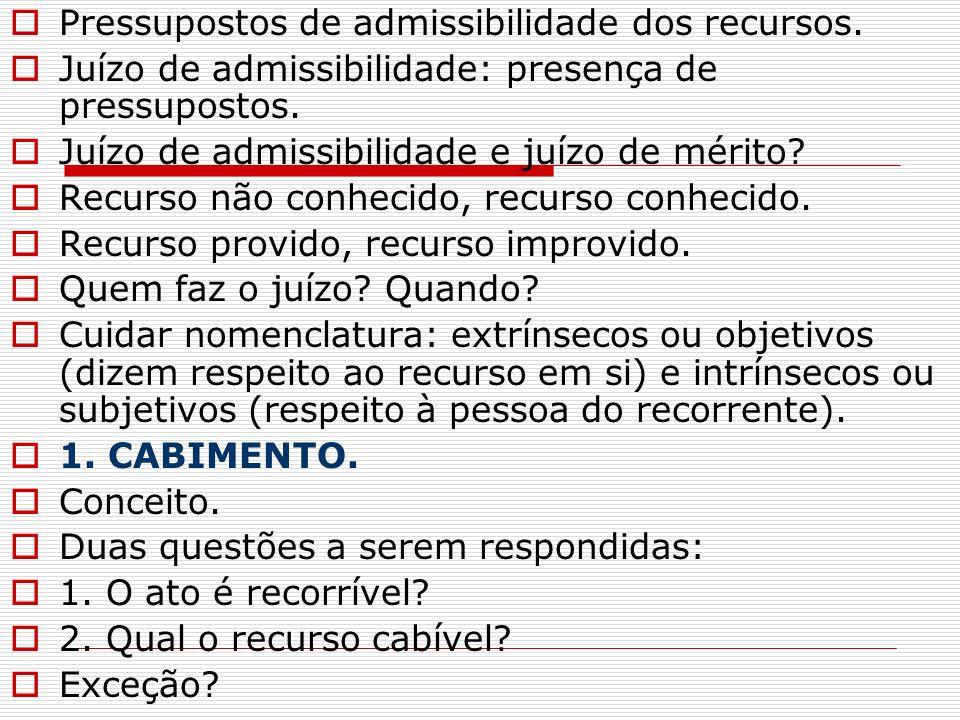 Pressupostos de admissibilidade dos recursos. Juízo de admissibilidade: presença de pressupostos. Juízo de admissibilidade e juízo de mérito? Recurso