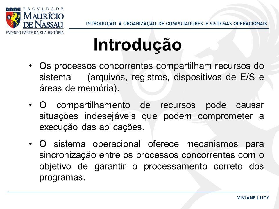 INTRODUÇÃO À ORGANIZAÇÃO DE COMPUTADORES E SISTEMAS OPERACIONAIS VIVIANE LUCY Introdução Os processos concorrentes compartilham recursos do sistema (a