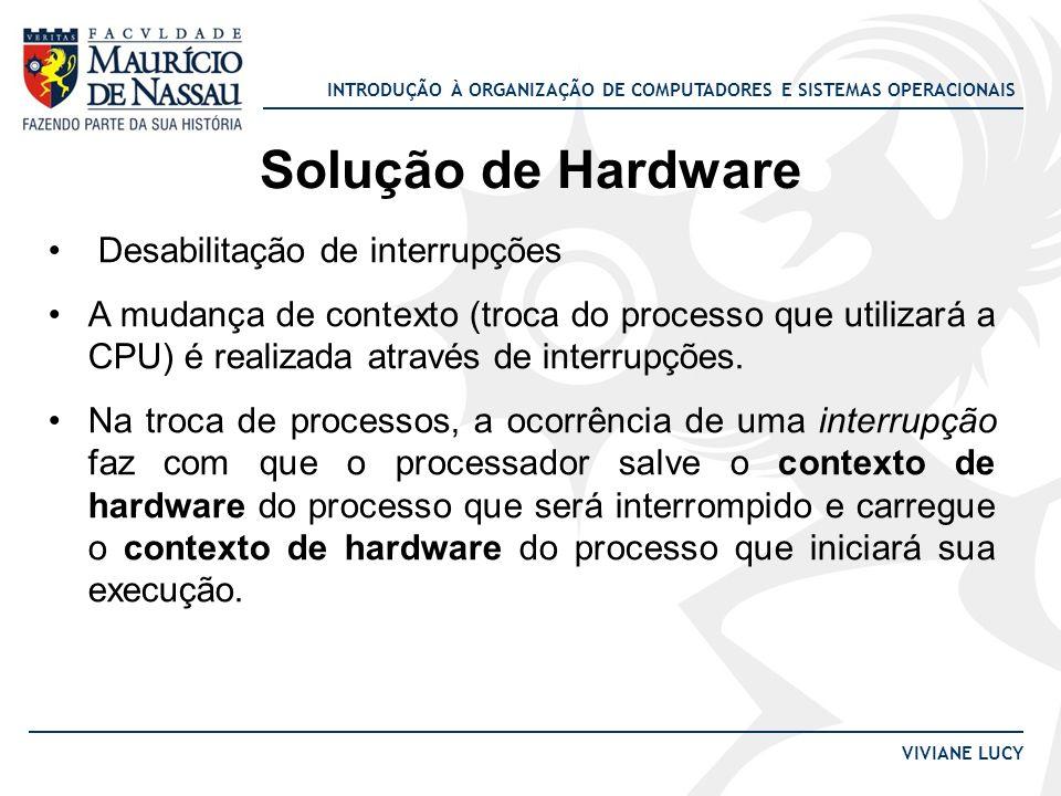 INTRODUÇÃO À ORGANIZAÇÃO DE COMPUTADORES E SISTEMAS OPERACIONAIS VIVIANE LUCY Solução de Hardware Desabilitação de interrupções A mudança de contexto