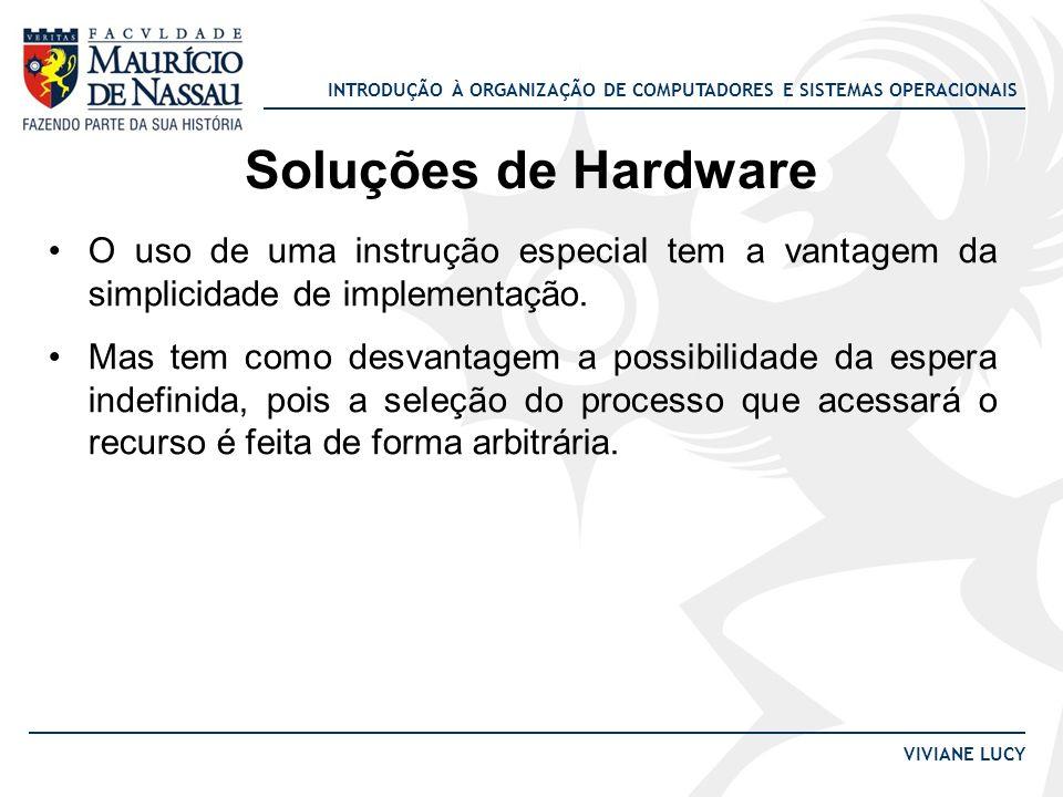 INTRODUÇÃO À ORGANIZAÇÃO DE COMPUTADORES E SISTEMAS OPERACIONAIS VIVIANE LUCY Soluções de Hardware O uso de uma instrução especial tem a vantagem da s