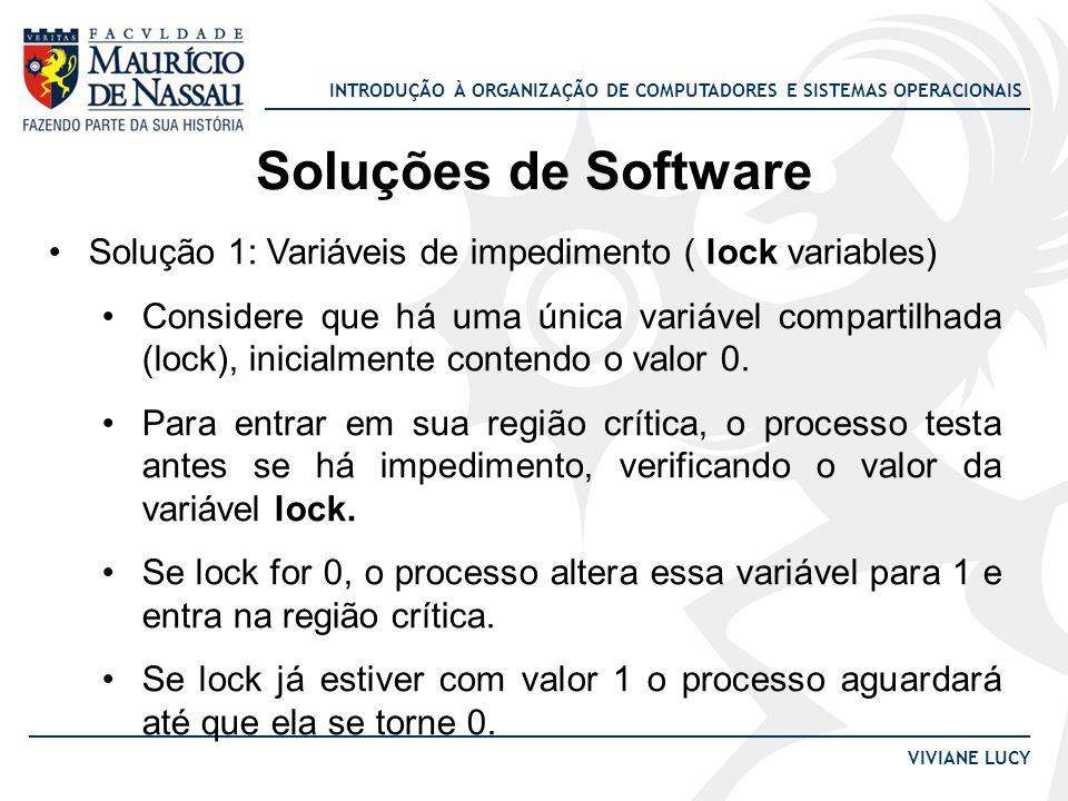 INTRODUÇÃO À ORGANIZAÇÃO DE COMPUTADORES E SISTEMAS OPERACIONAIS VIVIANE LUCY Soluções de Software Solução 1: Variáveis de impedimento ( lock variable