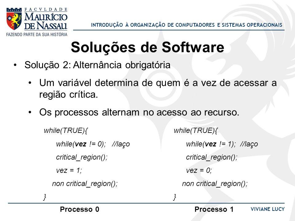 INTRODUÇÃO À ORGANIZAÇÃO DE COMPUTADORES E SISTEMAS OPERACIONAIS VIVIANE LUCY Soluções de Software Solução 2: Alternância obrigatória Um variável dete