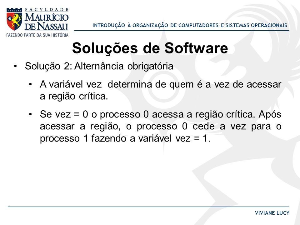 INTRODUÇÃO À ORGANIZAÇÃO DE COMPUTADORES E SISTEMAS OPERACIONAIS VIVIANE LUCY Soluções de Software Solução 2: Alternância obrigatória A variável vez d
