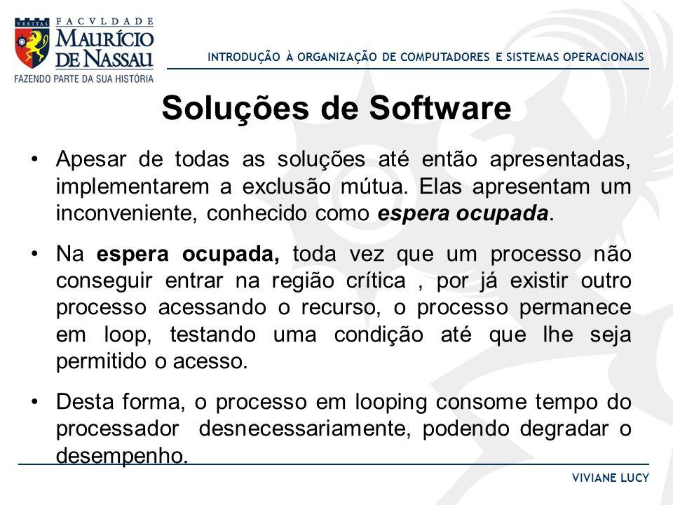 INTRODUÇÃO À ORGANIZAÇÃO DE COMPUTADORES E SISTEMAS OPERACIONAIS VIVIANE LUCY Soluções de Software Apesar de todas as soluções até então apresentadas,
