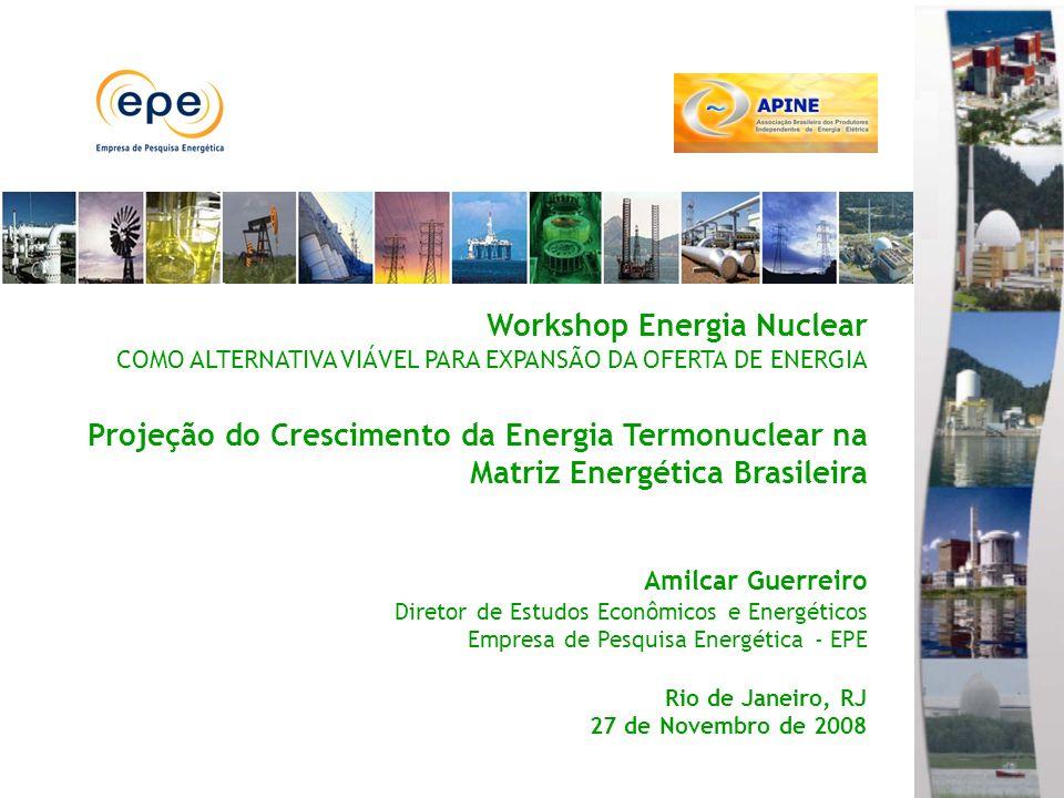 Energia Nuclear na Matriz Energética Brasileira Projeção da Matriz Energética Brasileira (PNE 2030) Intensidade elétrica e PIB per capita Indicadores do Consumo de Energia Elétrica Elaboração EPE, com base em dados do FMI e da IEA.