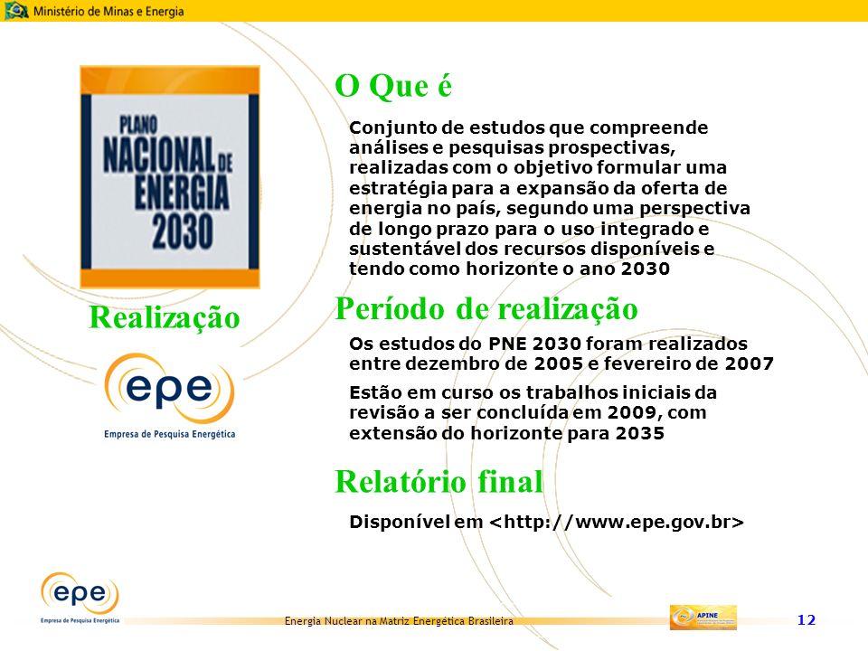 Energia Nuclear na Matriz Energética Brasileira 12 Conjunto de estudos que compreende análises e pesquisas prospectivas, realizadas com o objetivo for