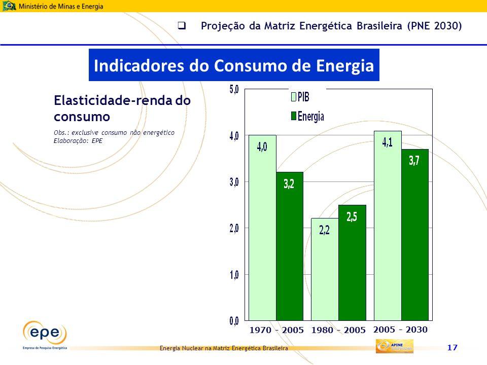 Energia Nuclear na Matriz Energética Brasileira 17 Elasticidade-renda do consumo 1970 - 20051980 - 2005 2005 - 2030 Obs.: exclusive consumo não energé