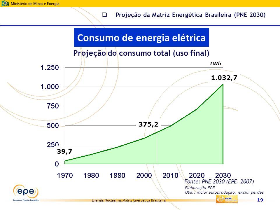 Energia Nuclear na Matriz Energética Brasileira 19 39,7 375,2 1.032,7 TWh Projeção do consumo total (uso final) Elaboração EPE Obs.: inclui autoproduç