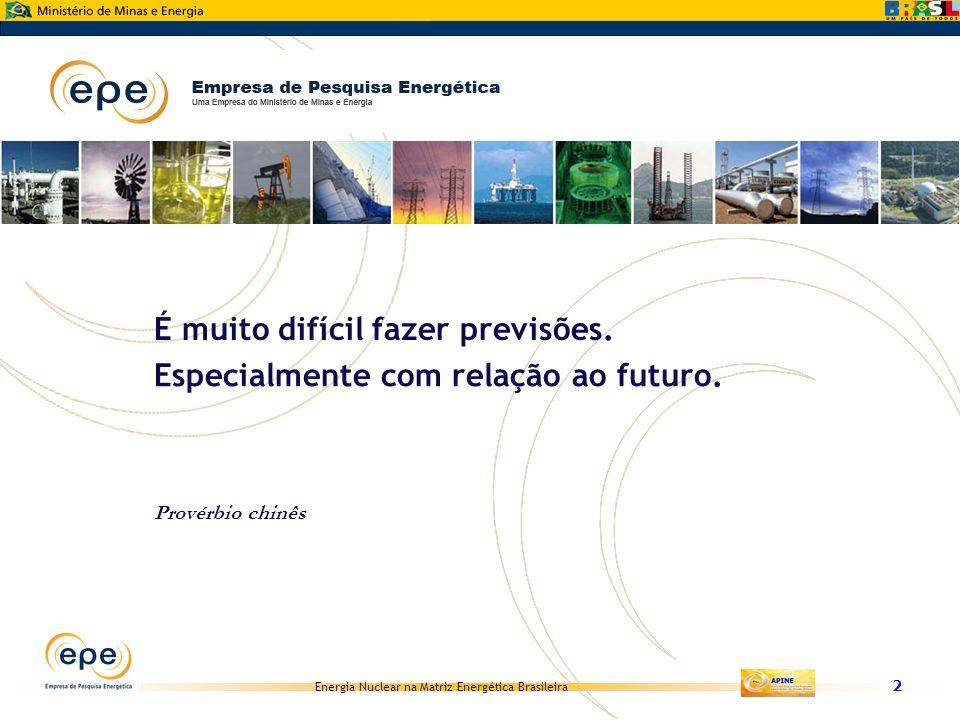 Energia Nuclear na Matriz Energética Brasileira 2 É muito difícil fazer previsões. Especialmente com relação ao futuro. Provérbio chinês