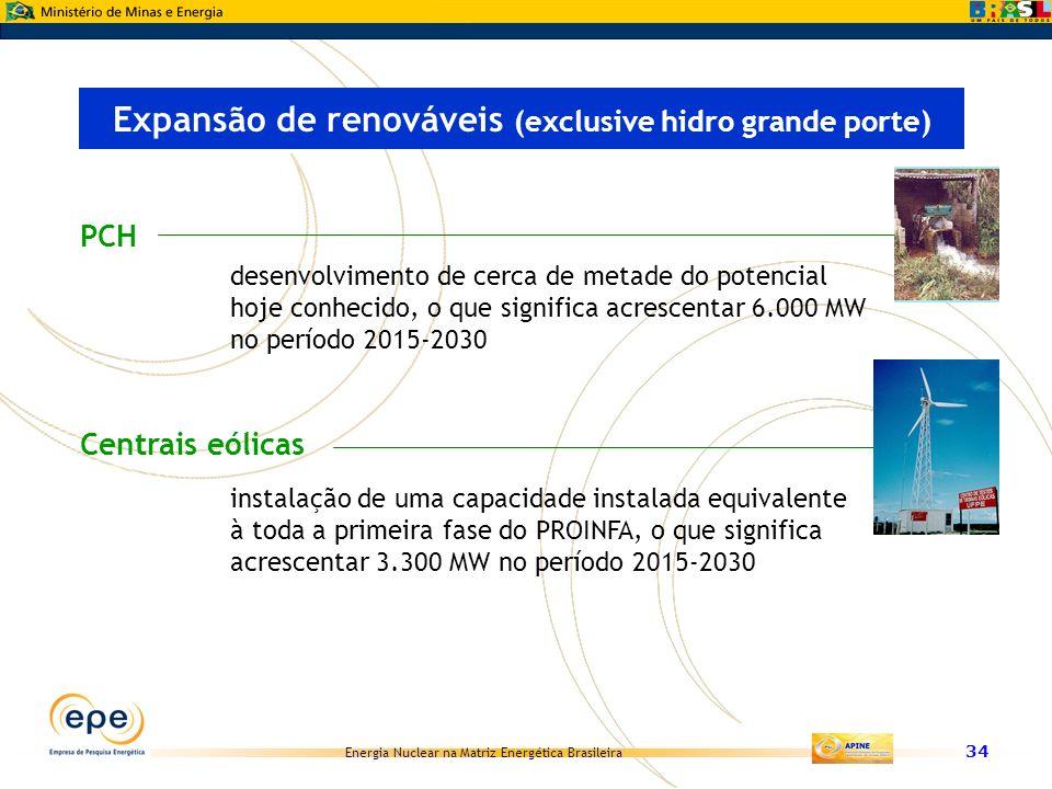 Energia Nuclear na Matriz Energética Brasileira 34 PCH Expansão de renováveis (exclusive hidro grande porte) desenvolvimento de cerca de metade do pot
