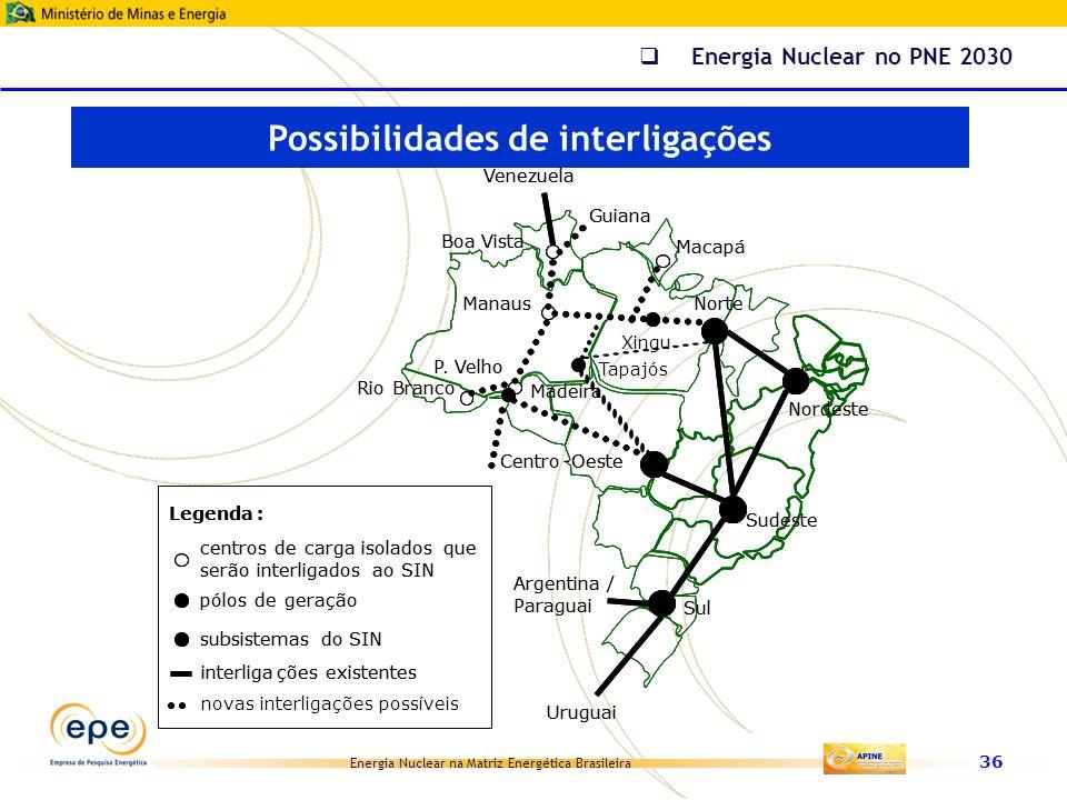Energia Nuclear na Matriz Energética Brasileira 36 Venezuela Xingu Boa Vista Macapá Manaus RioBranco P. Velho Madeira Argentina / Paraguai Sul Centro-