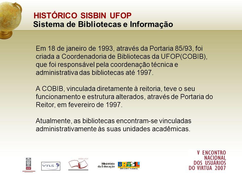 HISTÓRICO SISBIN UFOP Sistema de Bibliotecas e Informação Em 1998 foi implementado o Projeto de Criação e Informatização do Sistema de Bibliotecas da UFOP (SISBIN), e a respectiva Reestruturação Organizacional.