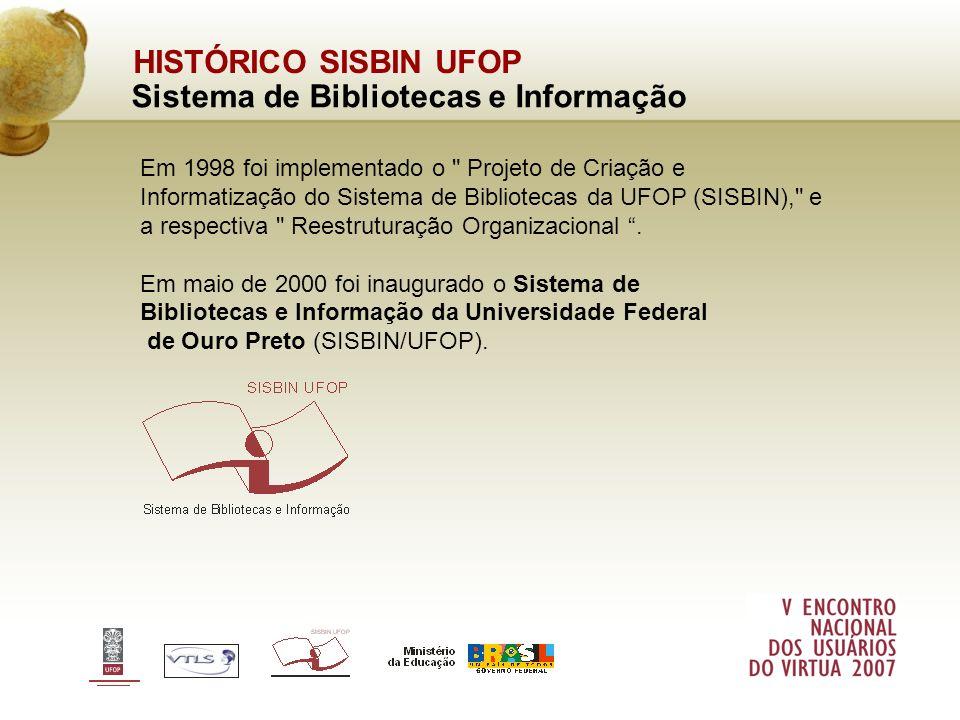 HISTÓRICO SISBIN UFOP Sistema de Bibliotecas e Informação Em 1998 foi implementado o