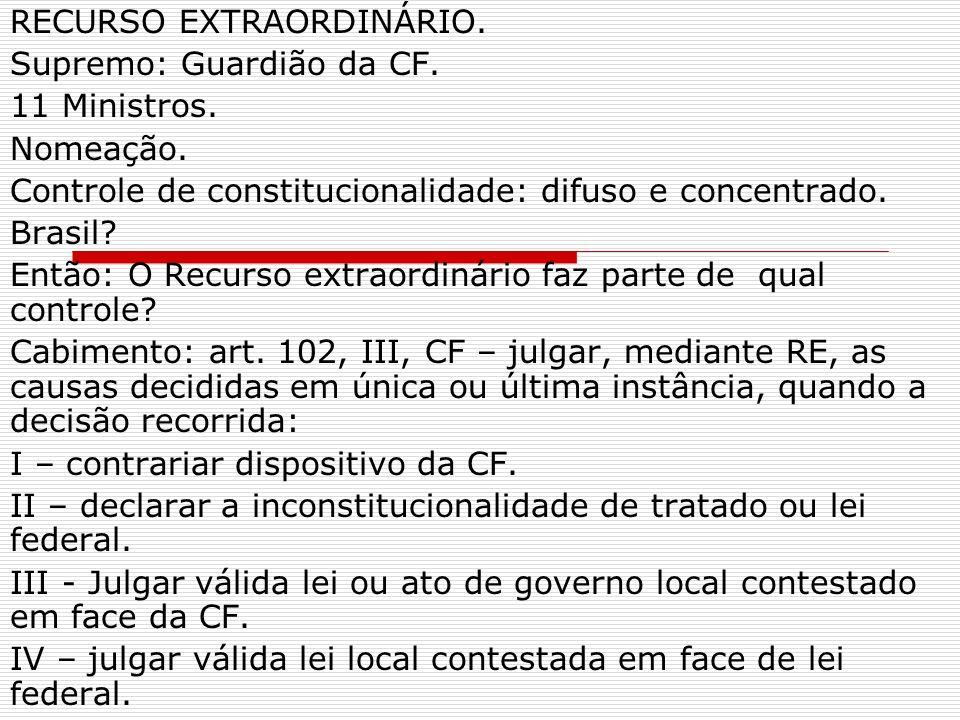 RECURSO EXTRAORDINÁRIO. Supremo: Guardião da CF. 11 Ministros.