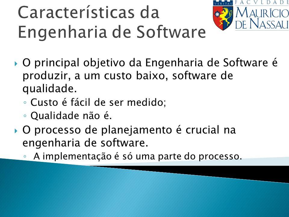 Características da Engenharia de Software O principal objetivo da Engenharia de Software é produzir, a um custo baixo, software de qualidade. Custo é