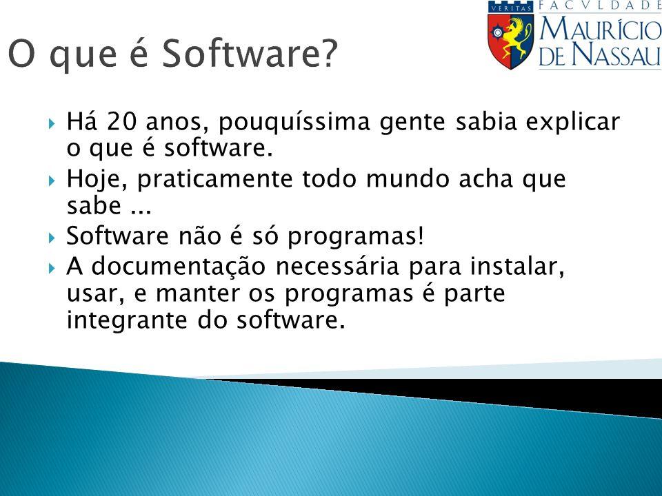 O que é Software? Há 20 anos, pouquíssima gente sabia explicar o que é software. Hoje, praticamente todo mundo acha que sabe... Software não é só prog