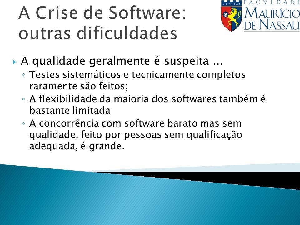 A Crise de Software: outras dificuldades A qualidade geralmente é suspeita... Testes sistemáticos e tecnicamente completos raramente são feitos; A fle