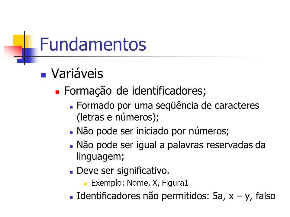 Fundamentos Variáveis Formação de identificadores; Formado por uma seqüência de caracteres (letras e números); Não pode ser iniciado por números; Não