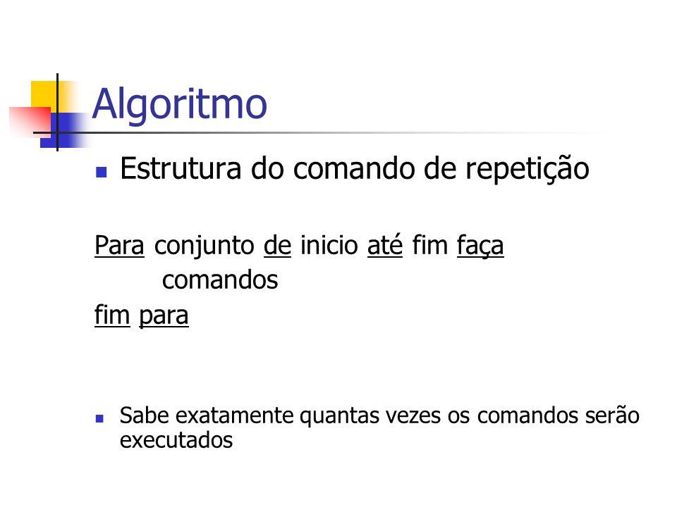 Algoritmo Estrutura do comando de repetição Para conjunto de inicio até fim faça comandos fim para Sabe exatamente quantas vezes os comandos serão exe