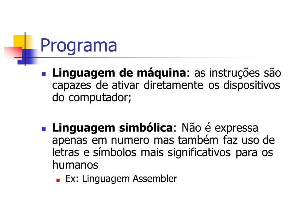 Programa Linguagem de máquina: as instruções são capazes de ativar diretamente os dispositivos do computador; Linguagem simbólica: Não é expressa apen