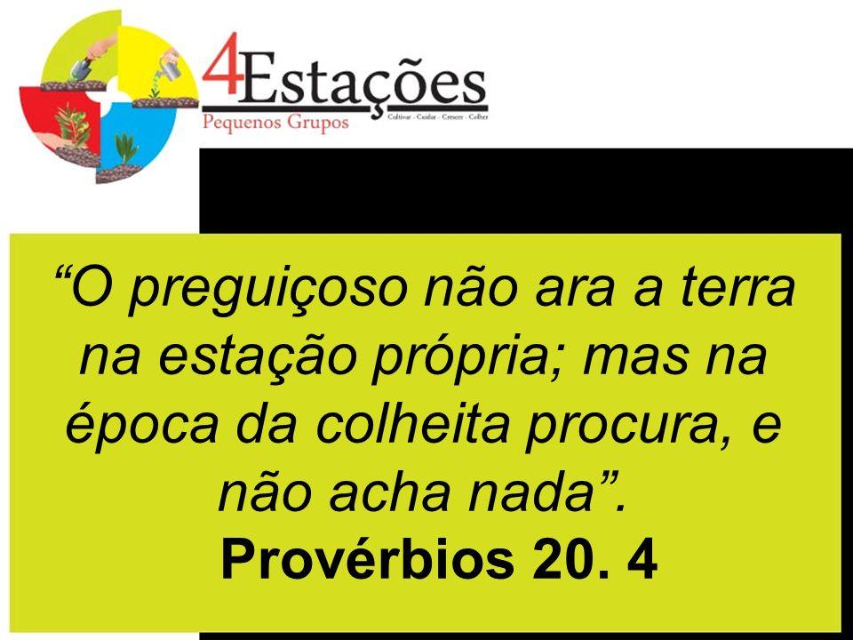O preguiçoso não ara a terra na estação própria; mas na época da colheita procura, e não acha nada. Provérbios 20. 4