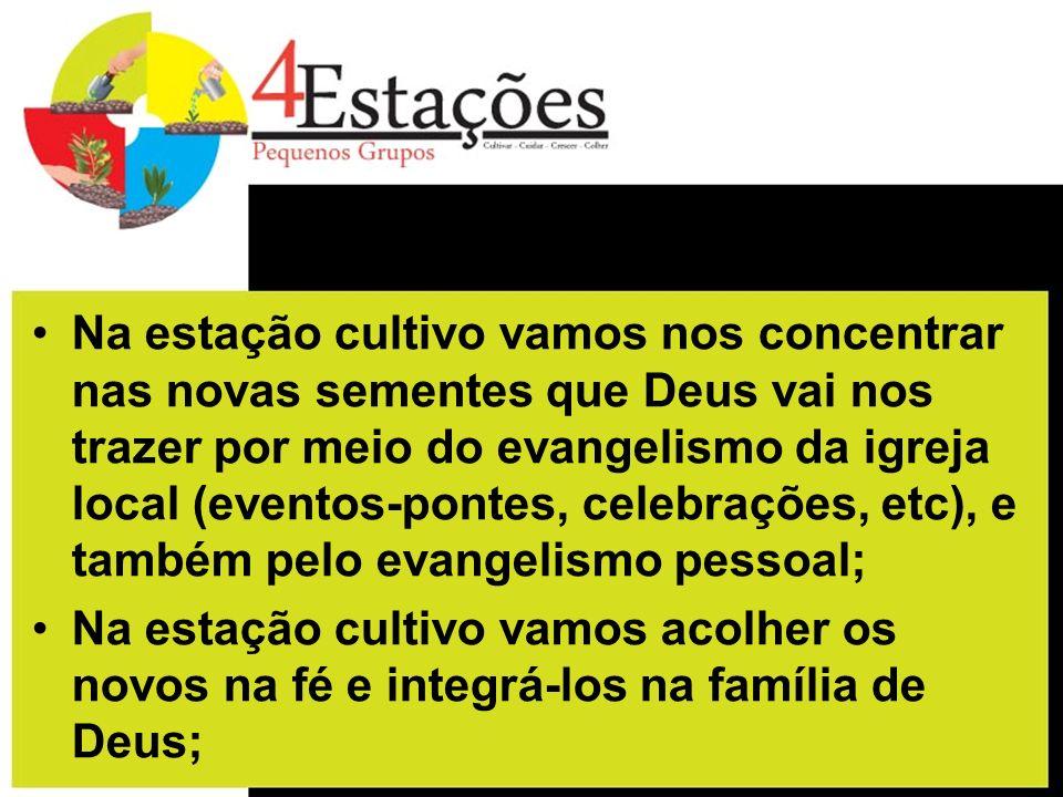 Na estação cultivo vamos nos concentrar nas novas sementes que Deus vai nos trazer por meio do evangelismo da igreja local (eventos-pontes, celebraçõe