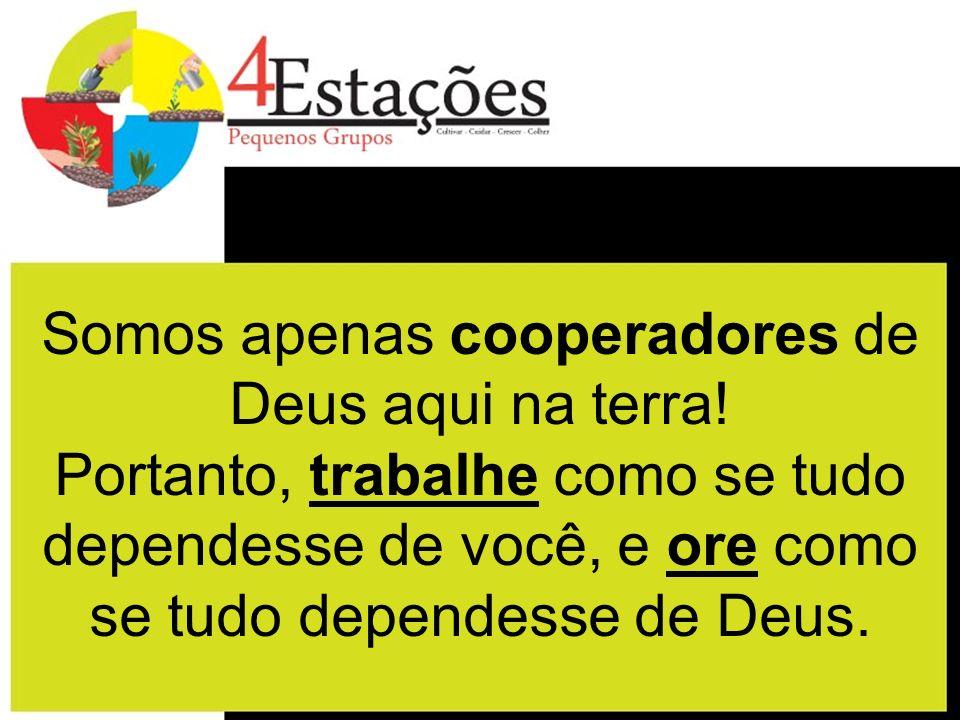 Somos apenas cooperadores de Deus aqui na terra! Portanto, trabalhe como se tudo dependesse de você, e ore como se tudo dependesse de Deus.